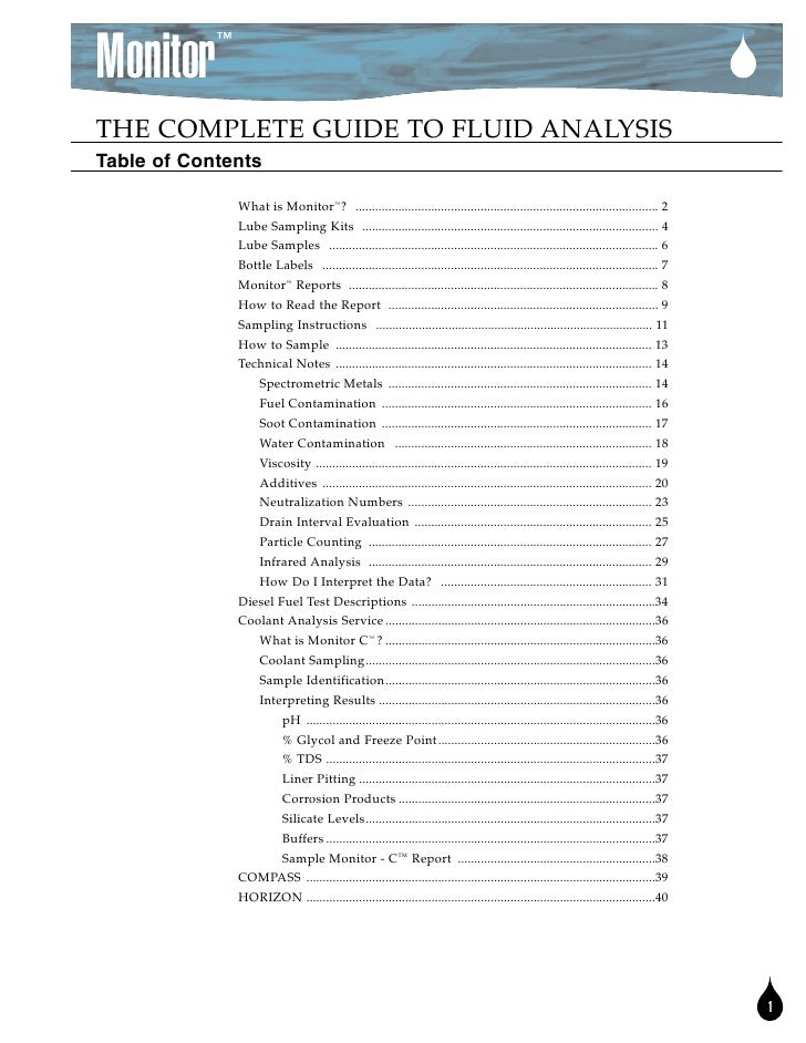 ™  Monitor THE COMPLETE GUIDE TO FLUID ANALYSIS Table of Contents                  What is Monitor™? ........................