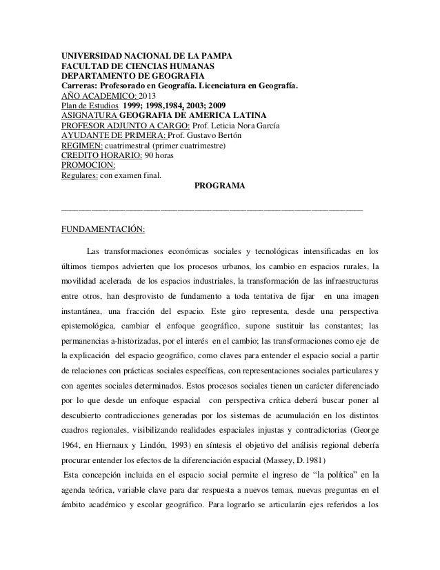 UNIVERSIDAD NACIONAL DE LA PAMPAFACULTAD DE CIENCIAS HUMANASDEPARTAMENTO DE GEOGRAFIACarreras: Profesorado en Geografía. L...