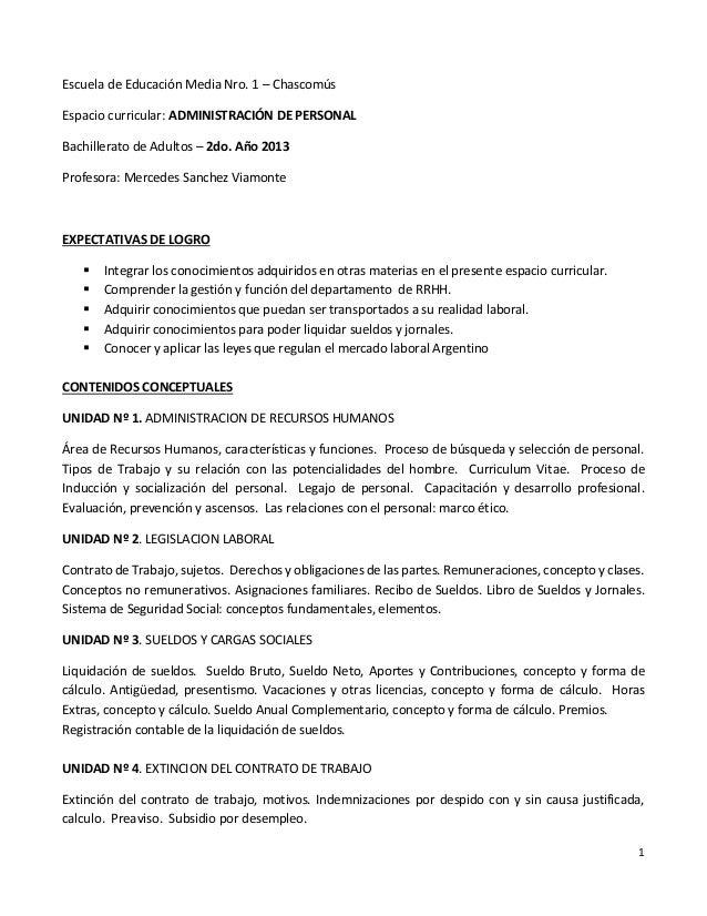 Escuela de Educación Media Nro. 1 – ChascomúsEspacio curricular: ADMINISTRACIÓN DE PERSONALBachillerato de Adultos – 2do. ...