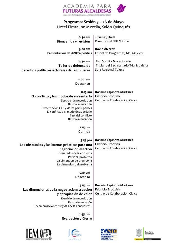 Programa | 3era Sesión | Academia para Futuras Alcaldesas