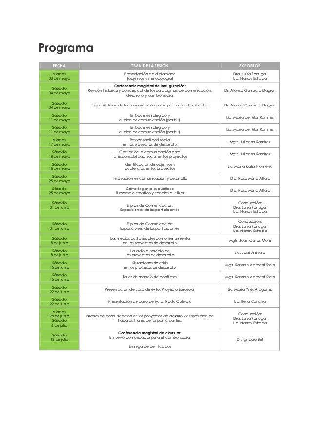 Calendario DRS- UDEP 2013