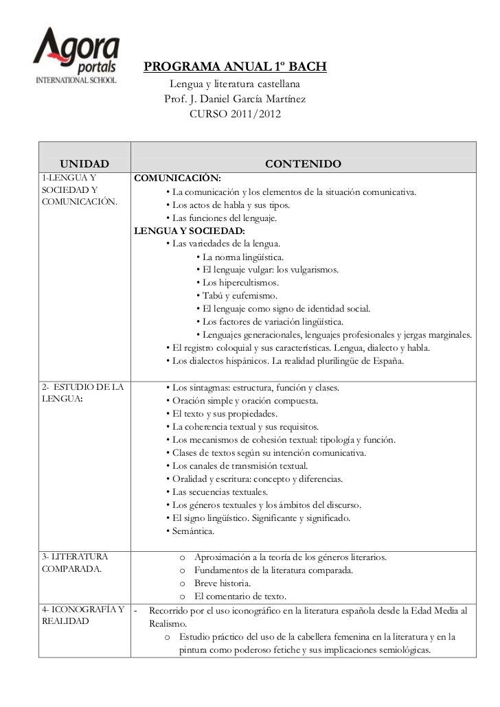 PROGRAMA ANUAL 1º BACH                           Lengua y literatura castellana                          Prof. J. Daniel G...