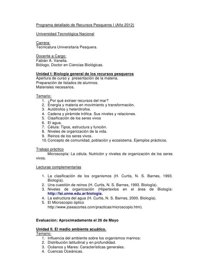 Programa detallado de Recursos Pesqueros I (Año 2012)Universidad Tecnológica NacionalCarrera:Tecnicatura Universitaria Pes...