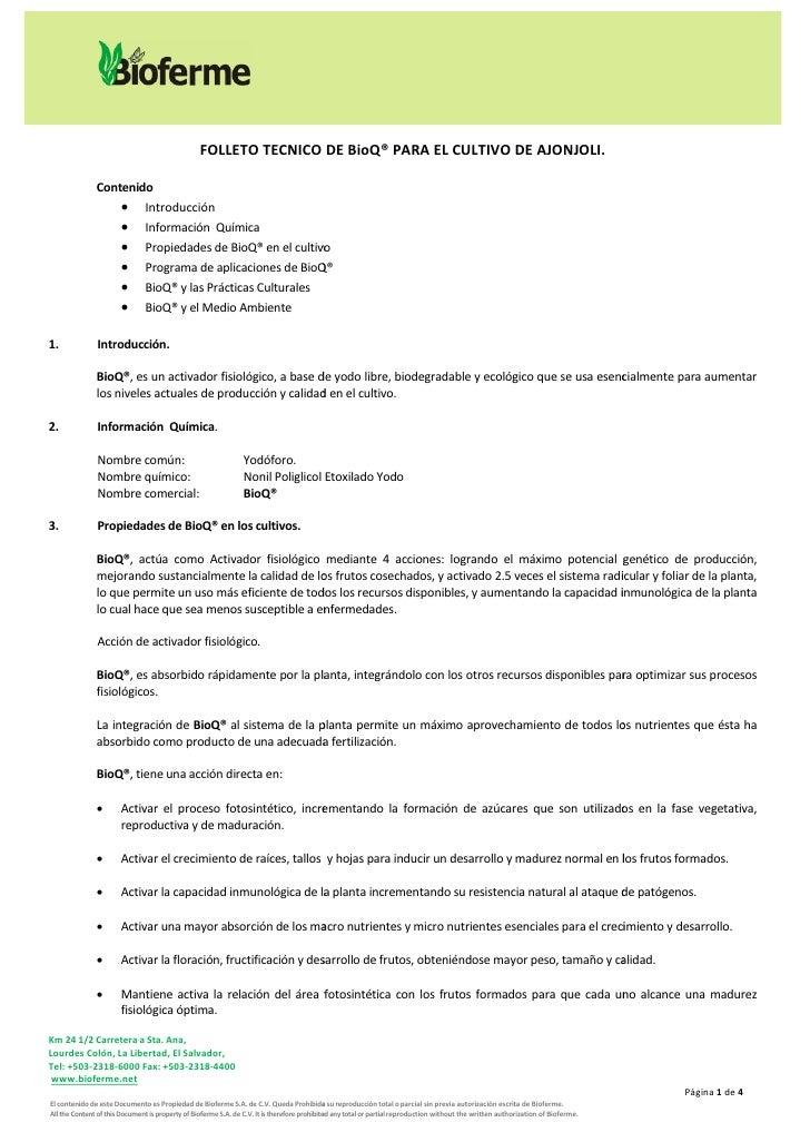 FOLLETO TECNICO DE BioQ® PARA EL CULTIVO DE AJONJOLI.                 Contenido                     Introducción         ...