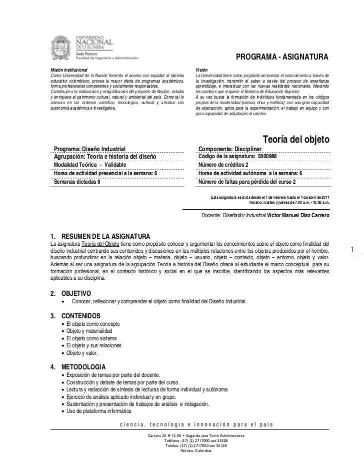 PROGRAMA - ASIGNATURAMisión Institucional                                                              VisiónComo Universi...
