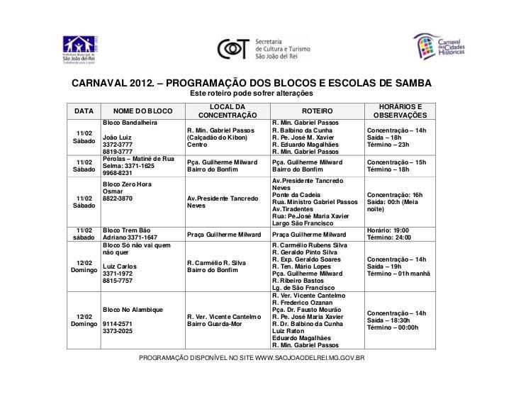 CARNAVAL 2012. – PROGRAMAÇÃO DOS BLOCOS E ESCOLAS DE SAMBA                                   Este roteiro pode sofrer alte...