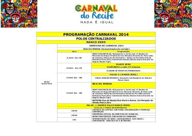 PROGRAMAÇÃO CARNAVAL 2014 POLOS CENTRALIZADOS MARCO ZERO ABERTURA DO CARNAVAL 2014 RUA DA MOEDA (Concentração do cortej...