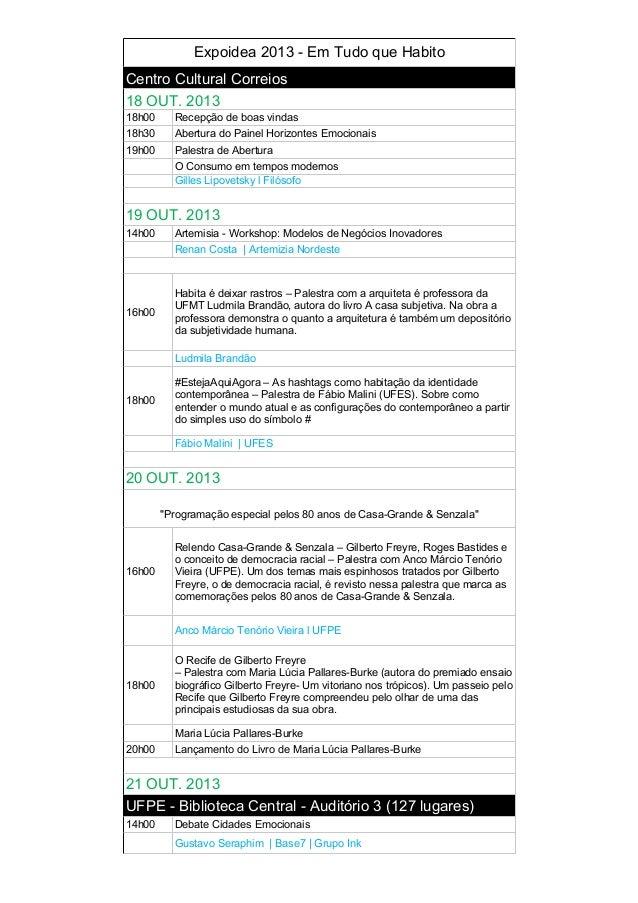 Programacao expoidea 2013