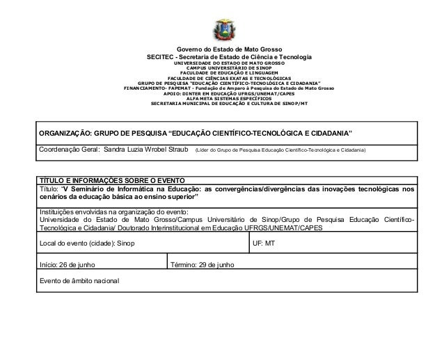 Governo do Estado de Mato GrossoSECITEC - Secretaria de Estado de Ciência e TecnologiaUNIVERSIDADE DO ESTADO DE MATO GROSS...