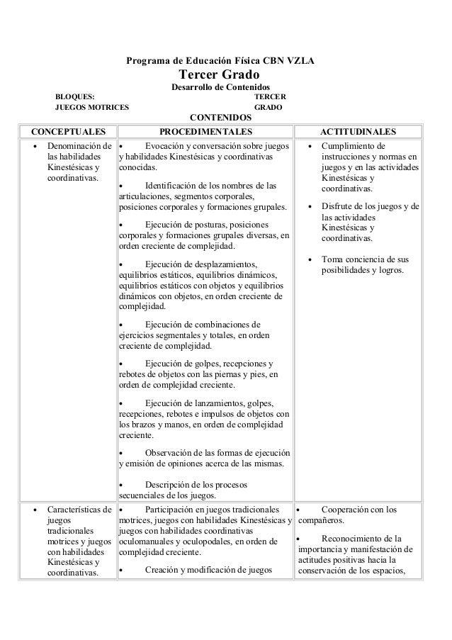 Programa de Educación Física CBN VZLATercer GradoDesarrollo de ContenidosBLOQUES: TERCERJUEGOS MOTRICES GRADOCONTENIDOSCON...