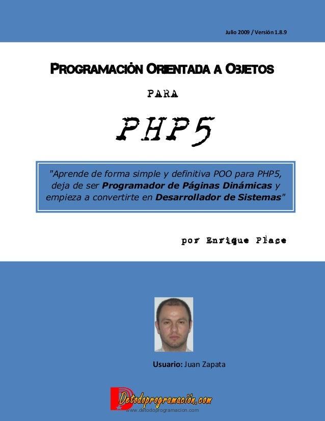 Programación orientada a objetos para php5