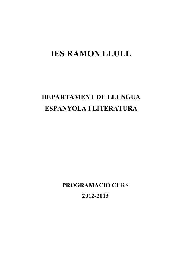 Programació castellà 2012 13 IES Ramon Llull
