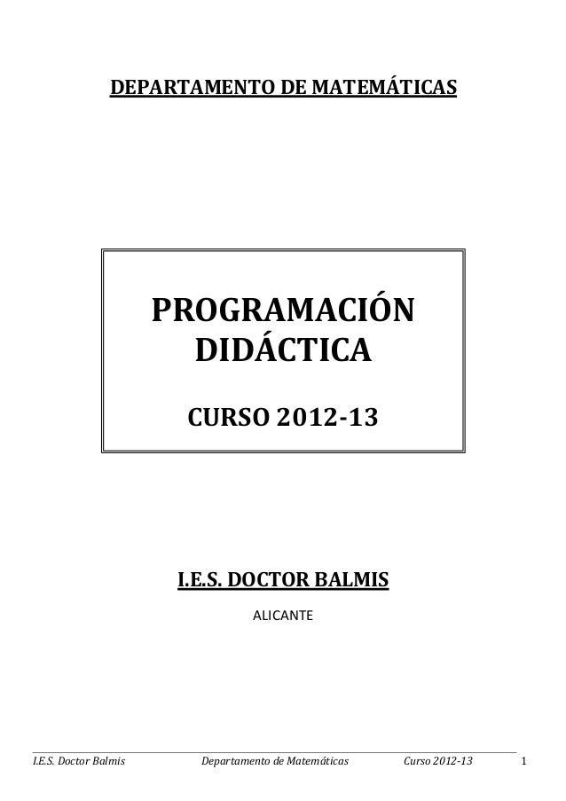 Programación 2012 2013 dep matem