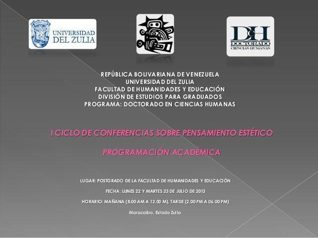 REPÚBLICA BOLIVARIANA DE VENEZUELA UNIVERSIDAD DEL ZULIA FACULTAD DE HUMANIDADES Y EDUCACIÓN DIVISIÓN DE ESTUDIOS PARA GRA...