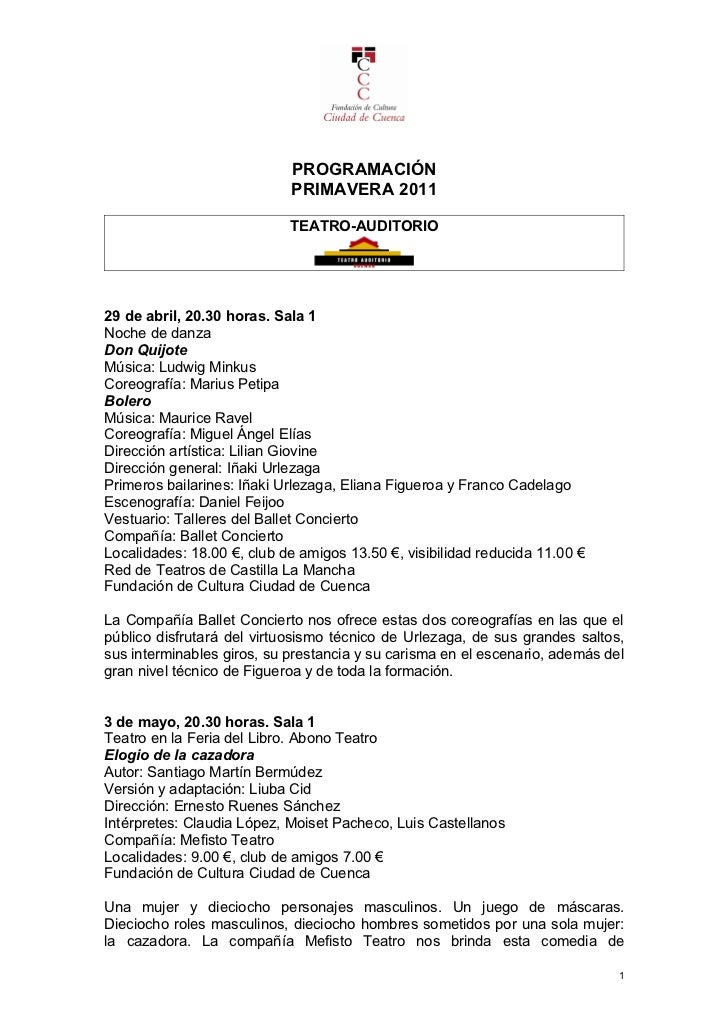 PROGRAMACIÓN                            PRIMAVERA 2011                            TEATRO-AUDITORIO29 de abril, 20.30 horas...