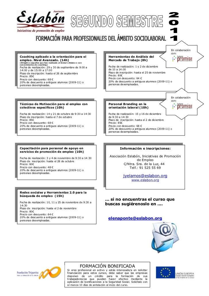 Programación de formación segundo semestre para profesionales del ámbito sociolaboral