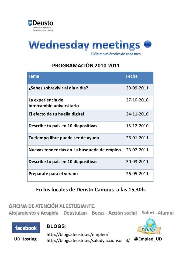Programación Wednesday Meetings*