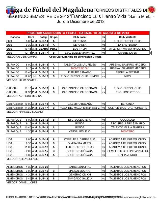 """Liga de Fútbol del MagdalenaTORNEOS DISTRITALES DEL SEGUNDO SEMESTRE DE 2013""""Francisco Luis Henao Vidal""""Santa Marta - Juli..."""
