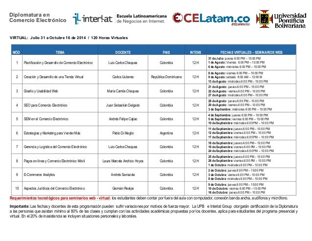 Calendario Académico Diplomatura Comercio Electrónico - Segundo Semestre 2014