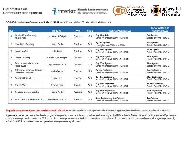 Calendario Académico Diplomatura Community Management - Segundo Semestre 2014 - Bogotá