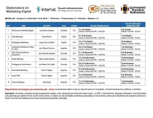 Calendario Académico Diplomatura Community Management - Segundo Semestre 2014 - Medellín