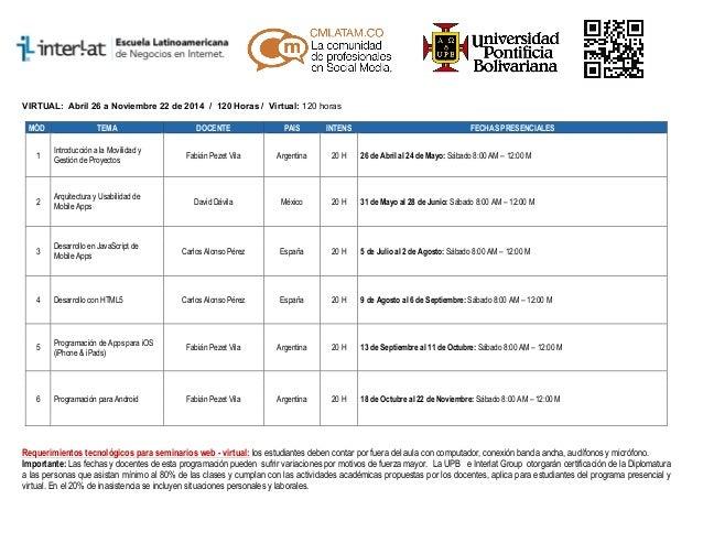 Diplomatura en Desarrollo de Aplicaciones Móviles Bogota - Programación Académica