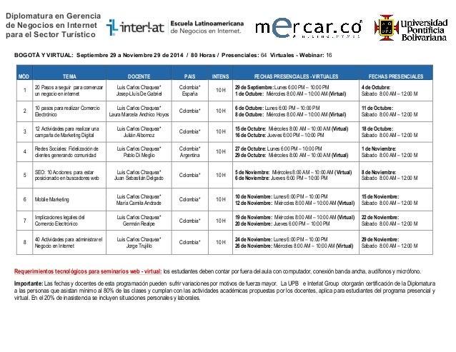 Diplomatura en Gerencia de Negocios en Internet para el Sector Turístico BOGOTÁ Y VIRTUAL: Septiembre 29 a Noviembre 29 de...