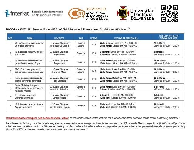 BOGOTÁ Y VIRTUAL: Febrero 24 a Abril 26 de 2014 / 80 Horas / Presenciales: 64 Virtuales - Webinar: 16  FECHAS PRESENCIALES...