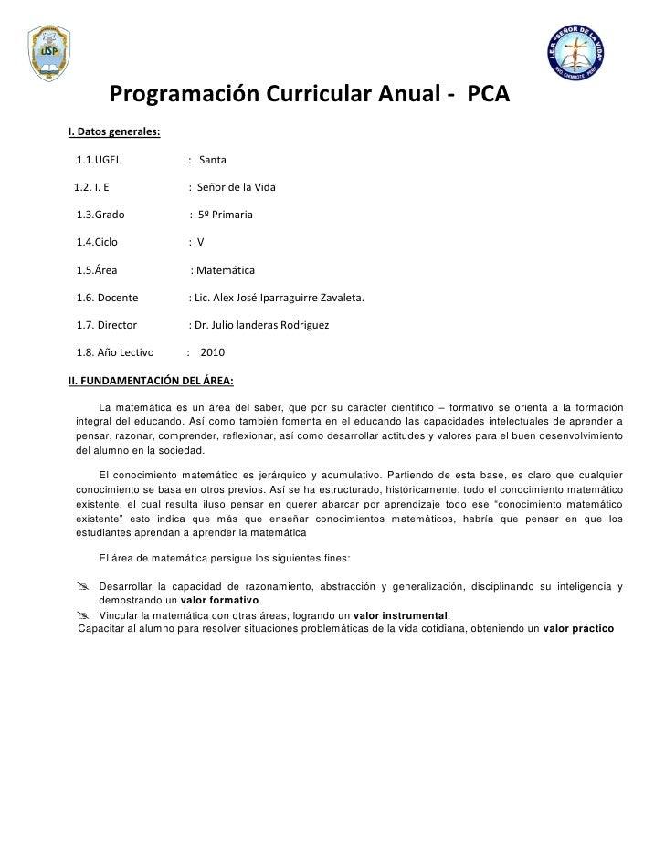 Programación Curricular Anual - PCA I. Datos generales:   1.1.UGEL                : Santa   1.2. I. E               : Seño...