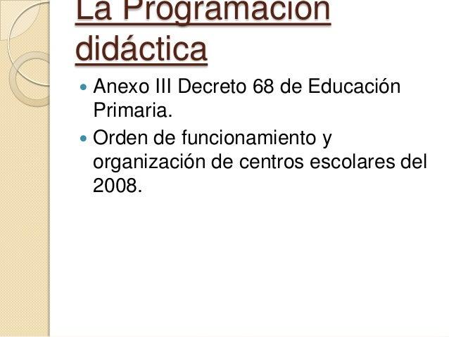 La Programación didáctica Anexo III Decreto 68 de Educación Primaria.  Orden de funcionamiento y organización de centros ...