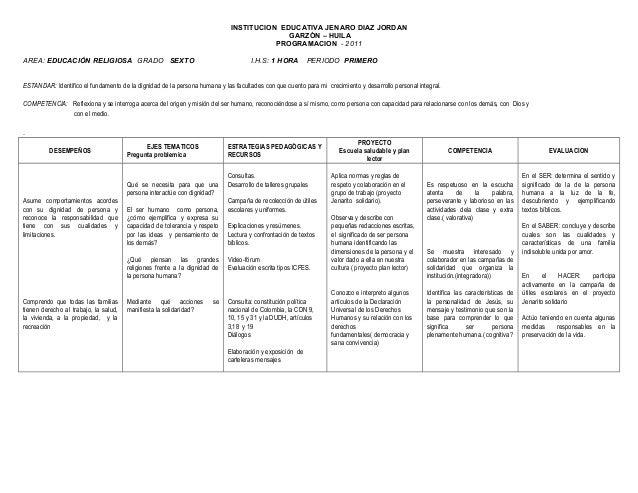 INSTITUCION EDUCATIVA JENARO DIAZ JORDAN GARZÓN – HUILA PROGRAMACION - 2011 AREA: EDUCACIÓN RELIGIOSA GRADO SEXTO I.H.S: 1...