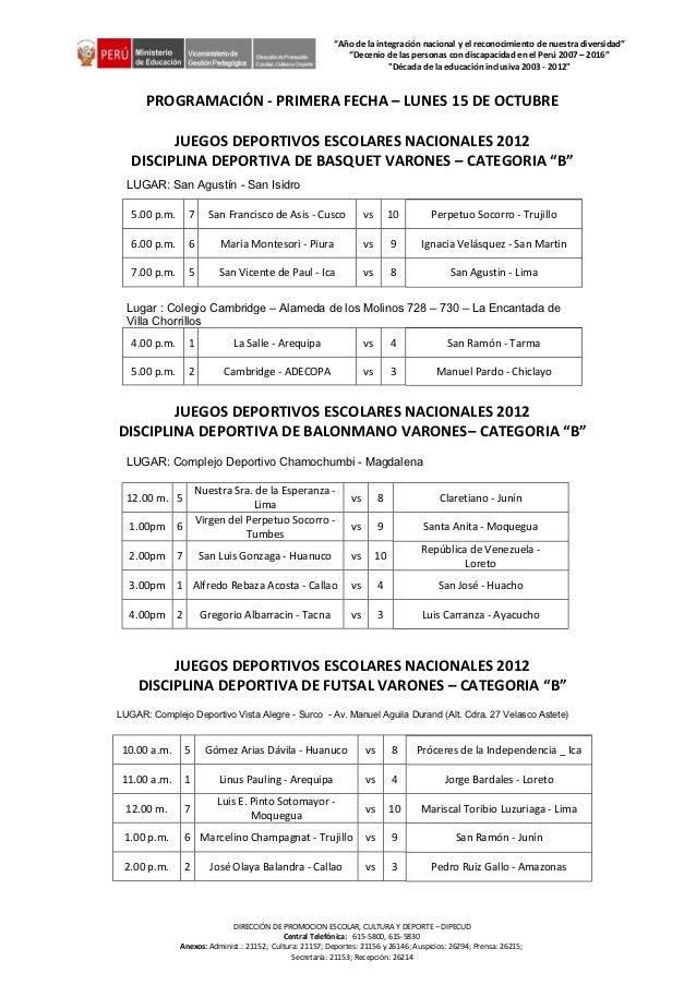 Programaciones 2° Bloque Etapa Nacional JDEN2012-Segunda fecha