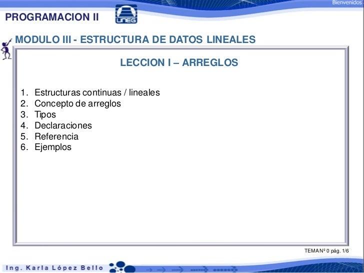 PROGRAMACION II MODULO III - ESTRUCTURA DE DATOS LINEALES                            LECCION I – ARREGLOS  1.   Estructura...