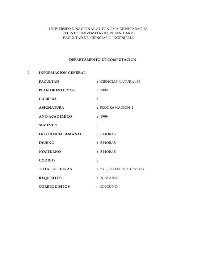UNIVERSIDAD NACIONAL AUTONOMA DE NICARAGUA               RECINTO UNIVERSITARIO RUBEN DARIO               FACULTAD DE CIENC...