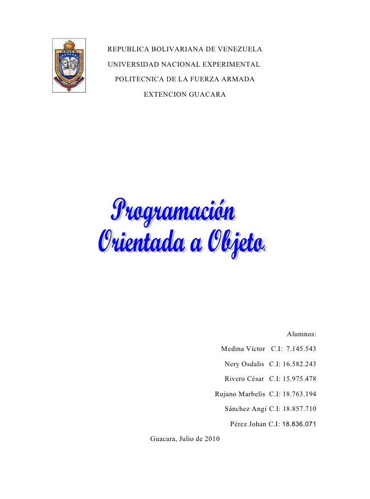 REPUBLICA BOLIVARIANA DE VENEZUELA UNIVERSIDAD NACIONAL EXPERIMENTAL  POLITECNICA DE LA FUERZA ARMADA        EXTENCION GUA...