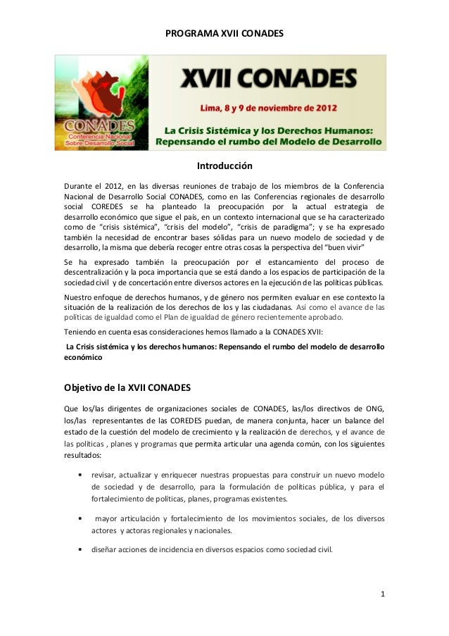 PROGRAMA XVII CONADES                                        IntroducciónDurante el 2012, en las diversas reuniones de tra...