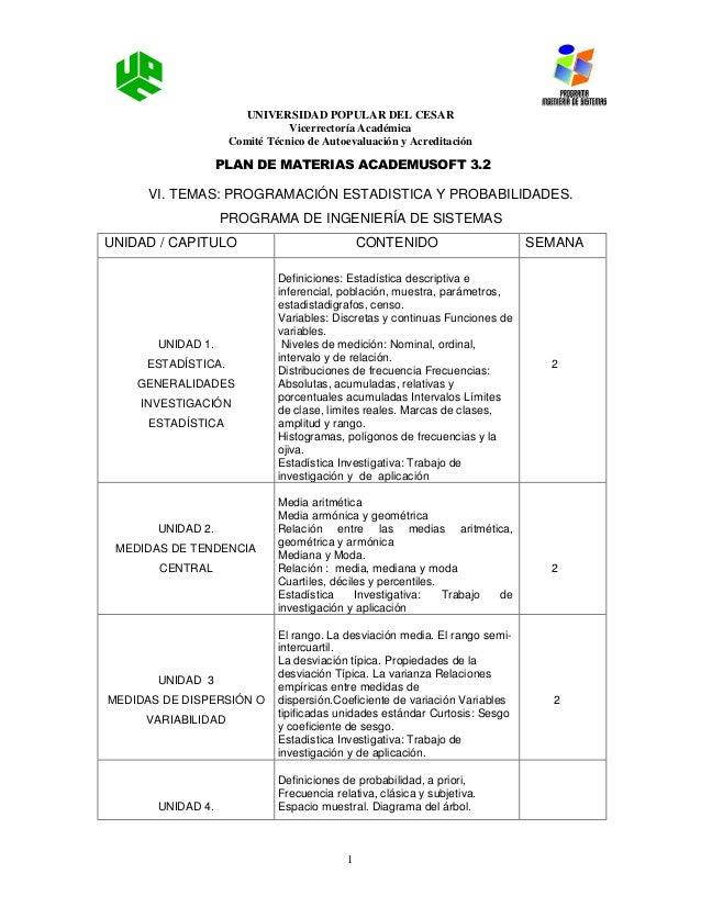 UNIVERSIDAD POPULAR DEL CESAR Vicerrectoría Académica Comité Técnico de Autoevaluación y Acreditación PLAN DE MATERIAS ACA...
