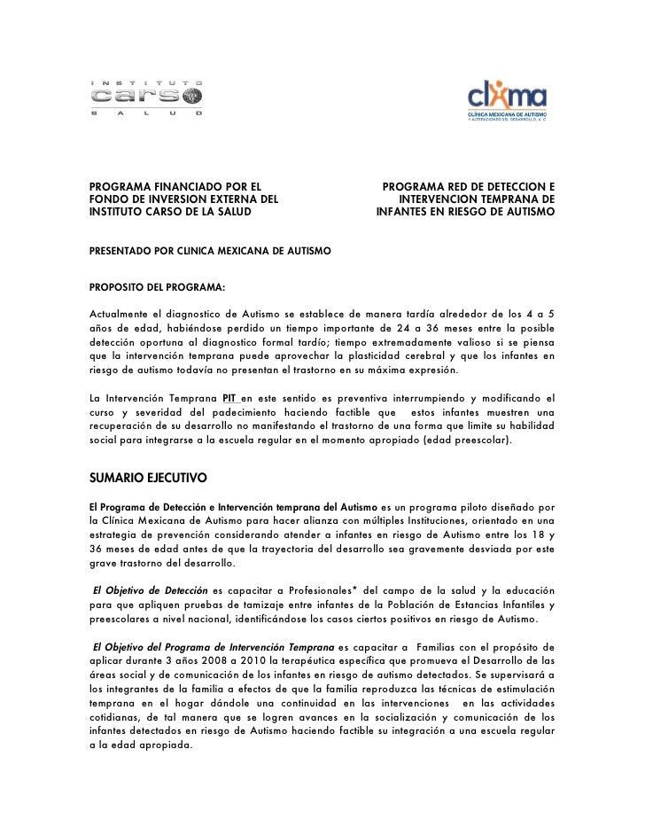 PROGRAMA FINANCIADO POR EL                                  PROGRAMA RED DE DETECCION EFONDO DE INVERSION EXTERNA DEL     ...