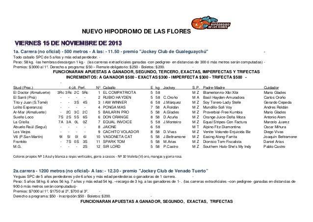 """NUEVO HIPODROMO DE LAS FLORES  1a. Carrera (no oficial) - 500 metros - A las: - 11.50 - premio """"Jockey Club de Gualeguaych..."""