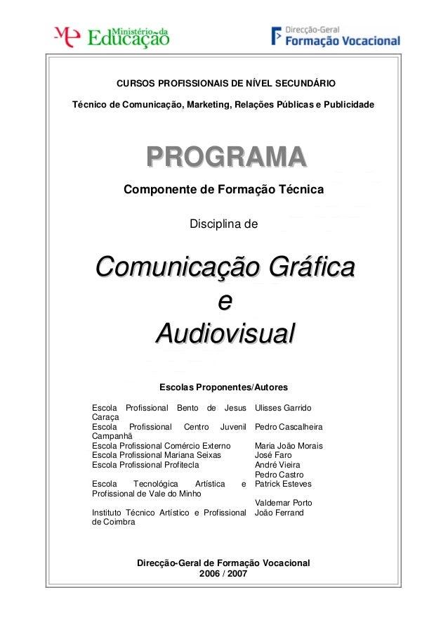 Programa disciplina Comunicação Gráfica e Audiovisual