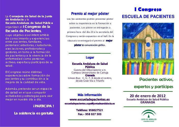 I Congreso                                                Premio al mejor póster     La Consejería de Salud de la Junta  ...