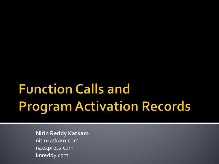 Program activation records