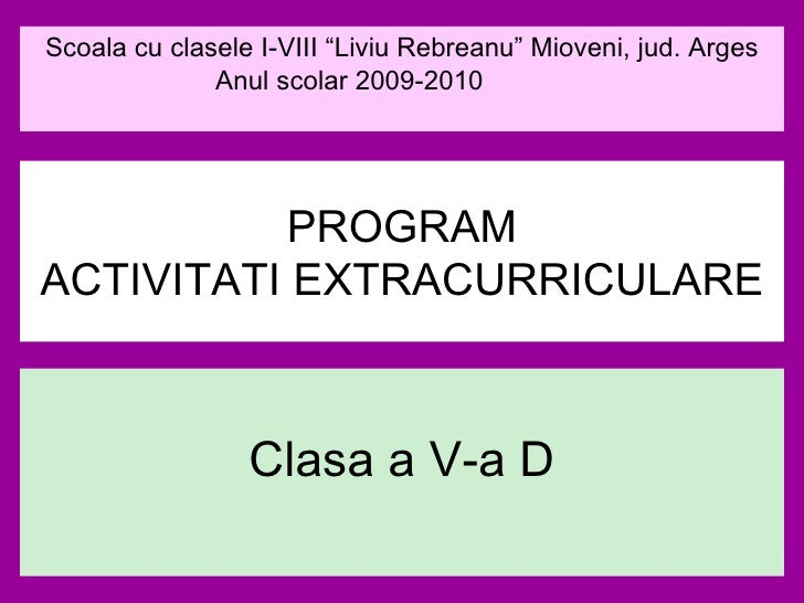 Program Activitati Extracurriculare   Clasa A V A D