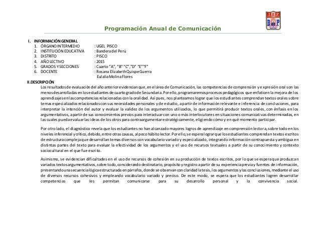 Programación Anual de Comunicación I. INFORMACIÓNGENERAL 1. ÓRGANOINTERMEDIO : UGEL PISCO 2. INSTITUCIÓN EDUCATIVA : Bande...