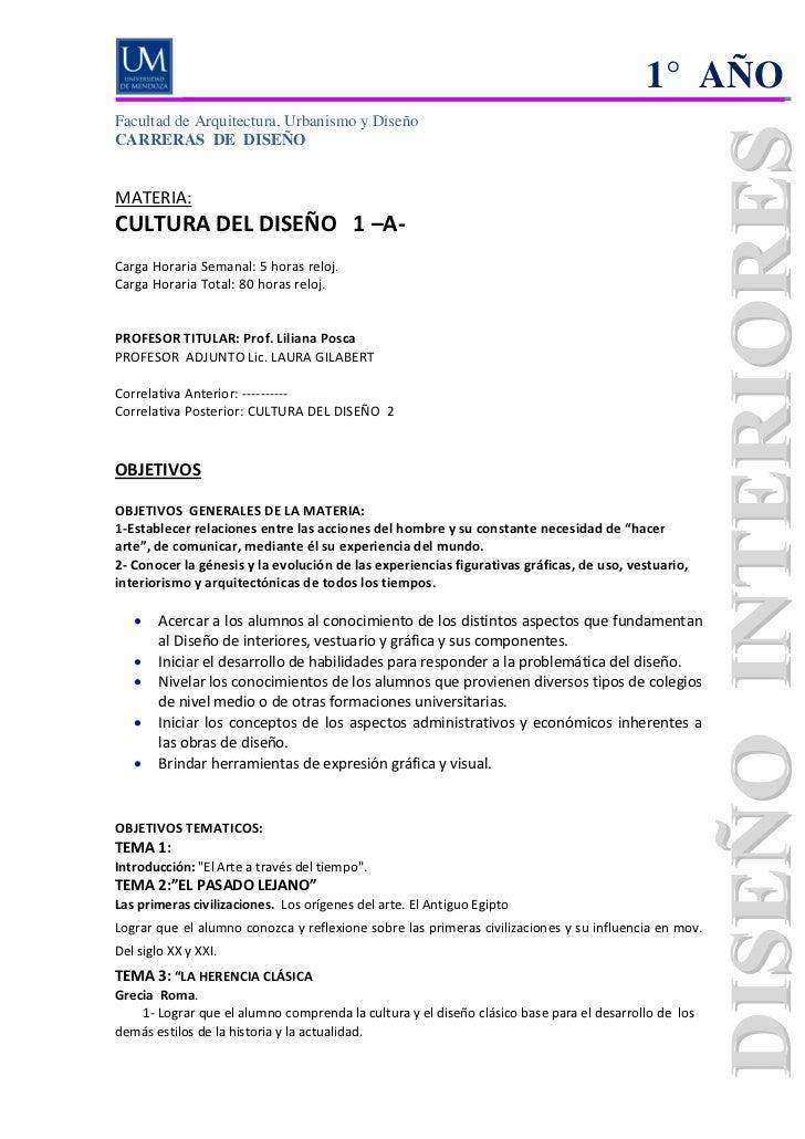 1° AÑOFacultad de Arquitectura, Urbanismo y DiseñoCARRERAS DE DISEÑOMATERIA:CULTURA DEL DISEÑO 1 –A-Carga Horaria Semanal:...