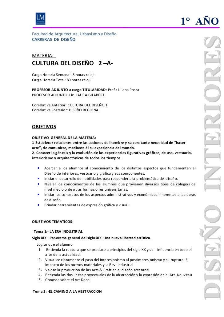 1° AÑOFacultad de Arquitectura, Urbanismo y DiseñoCARRERAS DE DISEÑOMATERIA:CULTURA DEL DISEÑO 2 –A-Carga Horaria Semanal:...