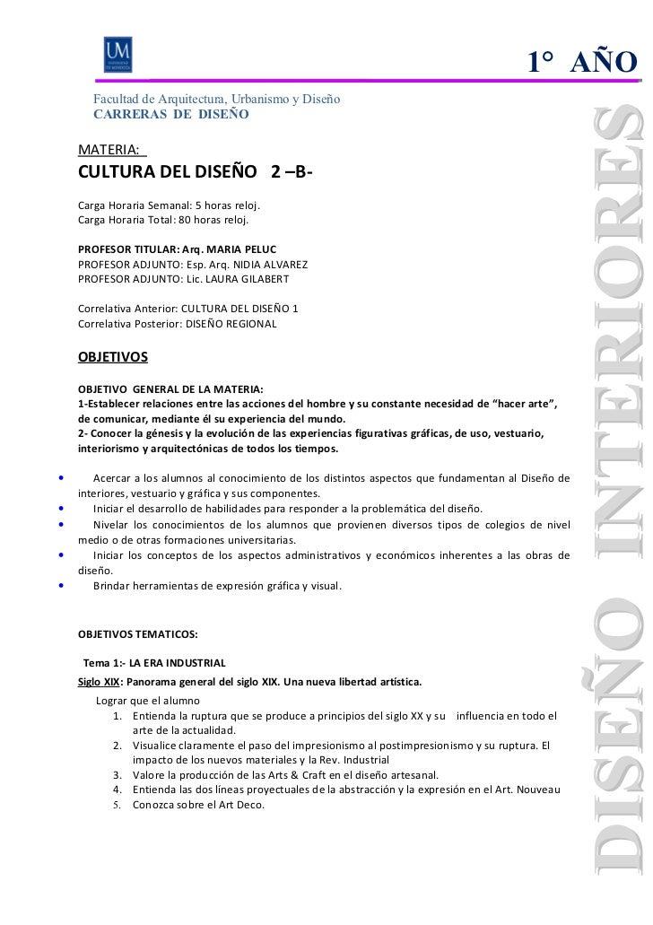 1° AÑO       Facultad de Arquitectura, Urbanismo y Diseño       CARRERAS DE DISEÑO    MATERIA:    CULTURA DEL DISEÑO 2 –B-...