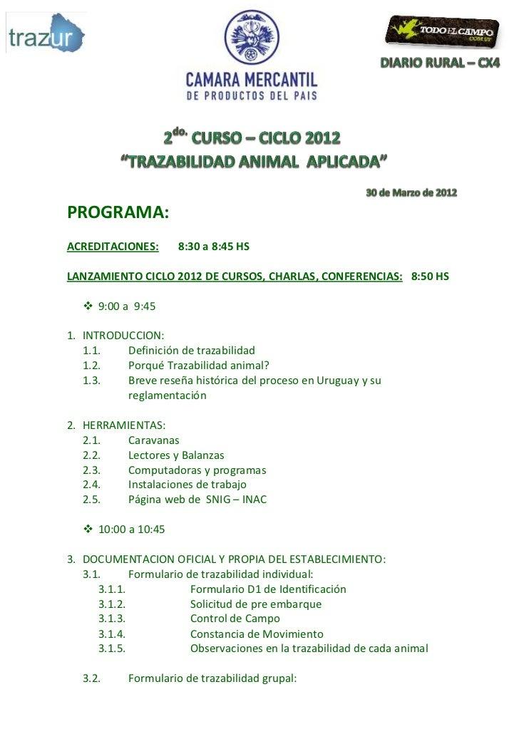 PROGRAMA:ACREDITACIONES:       8:30 a 8:45 HSLANZAMIENTO CICLO 2012 DE CURSOS, CHARLAS, CONFERENCIAS: 8:50 HS    9:00 a 9...