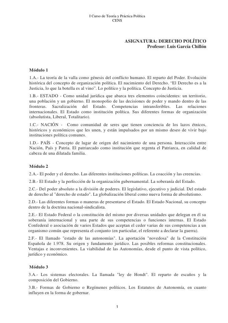 I Curso de Teoría y Práctica Política                                                CENS                                 ...