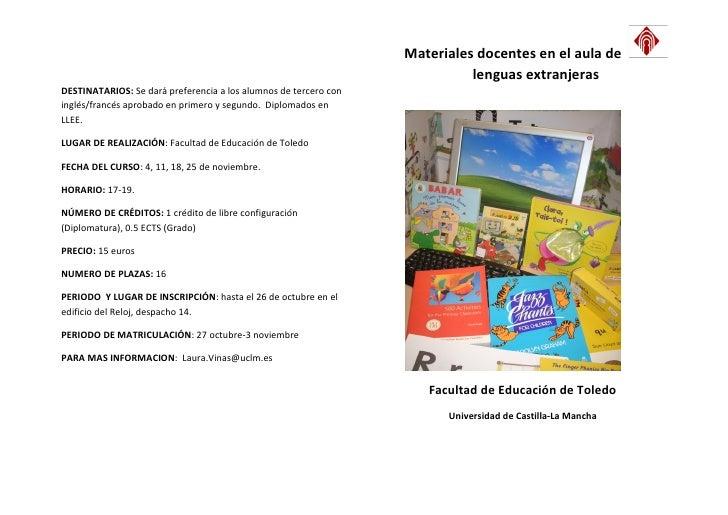 Materiales docentes en el aula de                                                                            lenguas extra...